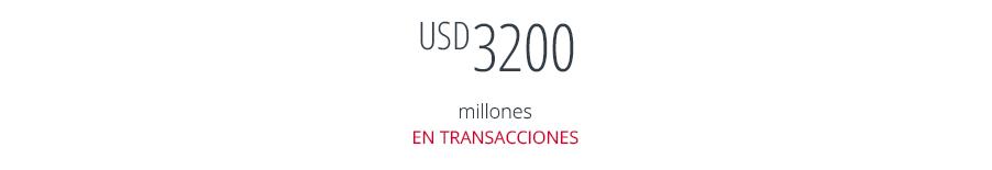 USD 200 millones en transacciones